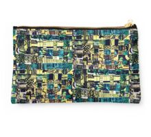 Green Patterned Woven Paper Studio Pouch