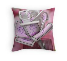 """Love You"" - Petals of a Paper Rose Throw Pillow"