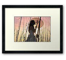 Bride at sunset Framed Print