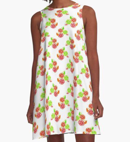 Citrus Slices Pattern A-Line Dress