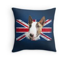 Bull Terrier BETTY Bullterrier UK grunge FLAG // navy Throw Pillow