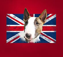 Bull Terrier BETTY Bullterrier UK grunge FLAG // red by bullylove