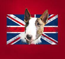 Bull Terrier BETTY Bullterrier UK grunge FLAG // red by bullylove