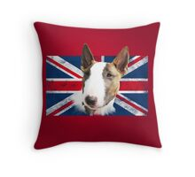 Bull Terrier BETTY Bullterrier UK grunge FLAG // red Throw Pillow