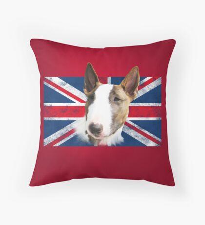 Bull Terrier BETTY Bullterrier UK grunge FLAG // red Throw Pillow