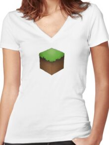 Minecraft Block Women's Fitted V-Neck T-Shirt