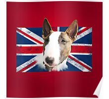 Bull Terrier BETTY Bullterrier UK grunge FLAG // red Poster