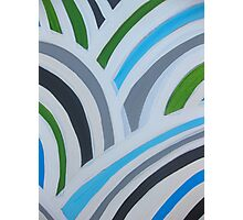 Wavy a modern blue and white abstract pattern Photographic Print
