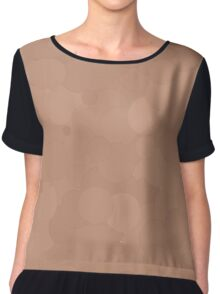 Cafe au Lait Bubble Dot Color Accent Chiffon Top