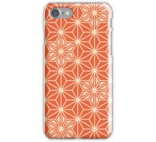 Japanese Asanoha pattern - coral orange iPhone Case/Skin