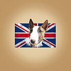 Bull Terrier BETTY Bullterrier UK grunge FLAG // creme by bullylove