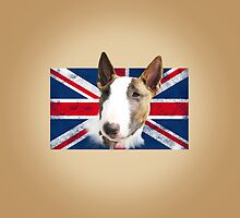 Bull Terrier BETTY Bullterrier UK grunge FLAG // creme by bullylove