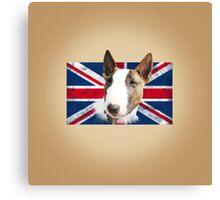 Bull Terrier BETTY Bullterrier UK grunge FLAG // creme Canvas Print
