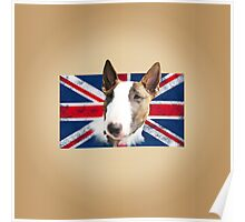 Bull Terrier BETTY Bullterrier UK grunge FLAG // creme Poster