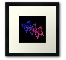 Bisexual Flag Butterflies on Black  Framed Print