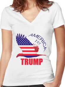 Trump America First Eagle  Women's Fitted V-Neck T-Shirt