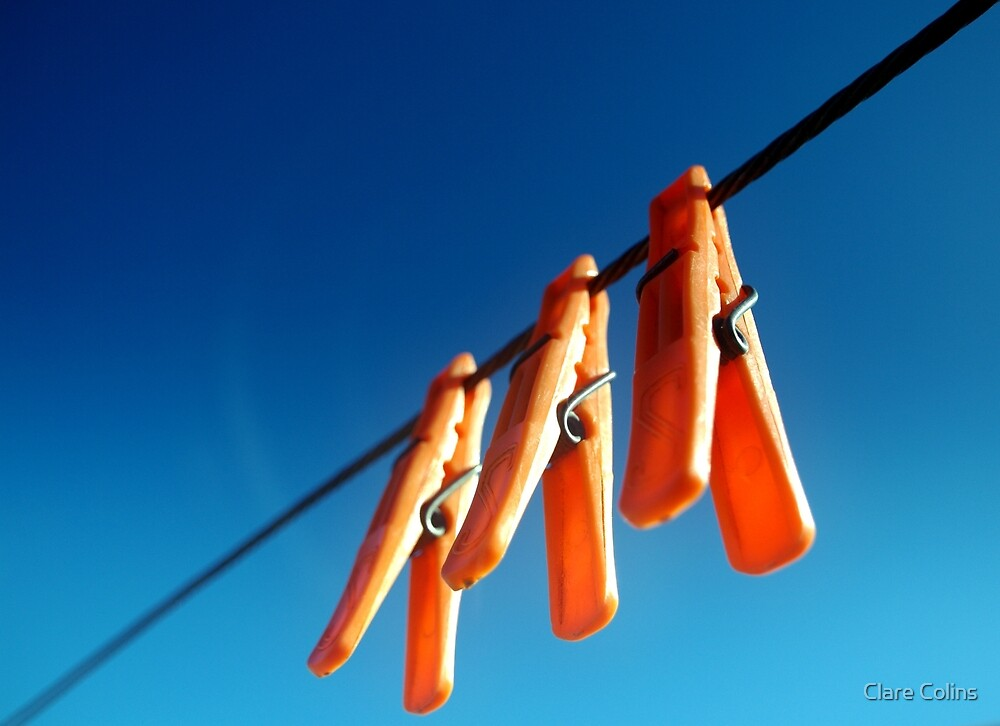 orange and blue - we have you pegged! by Clare Colins