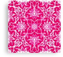 Art Nouveau Chinese Tile, Fuschia Pink Canvas Print