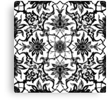 Art Nouveau Chinese Tile, Black and White Canvas Print