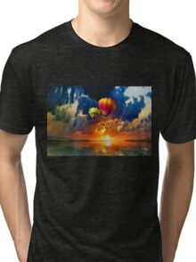 AROUND THE WORLD IN A BALOON, by E. Giupponi Tri-blend T-Shirt