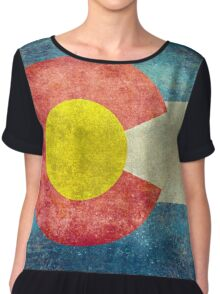Colorado State Flag with vintage retro style treatment Women's Chiffon Top