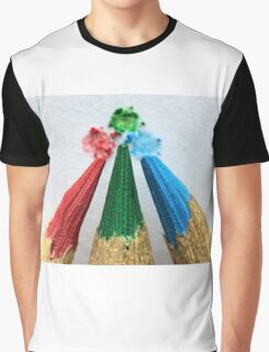 Three Colored Pencils Graphic T-Shirt