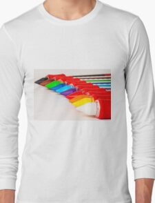 pens and pencils in a line Long Sleeve T-Shirt