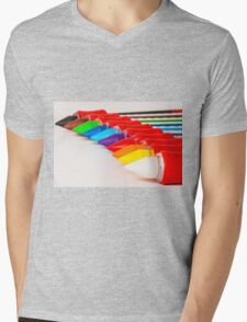 pens and pencils in a line Mens V-Neck T-Shirt