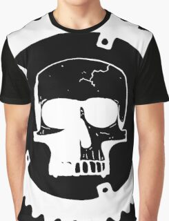 Sprocket Skull- White on Black Graphic T-Shirt