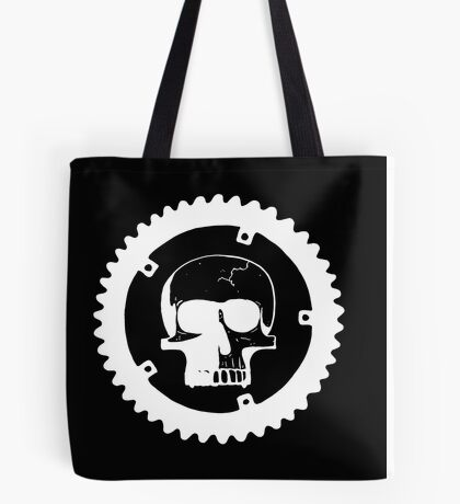 Sprocket Skull- White on Black Tote Bag