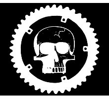 Sprocket Skull- White on Black Photographic Print