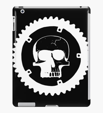 Sprocket Skull- White on Black iPad Case/Skin