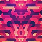 Abstract Symertric geometric triangle texture pattern design in diabolic magnet future red by badbugs
