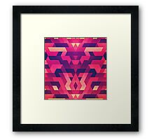 Abstract Symertric geometric triangle texture pattern design in diabolic magnet future red Framed Print
