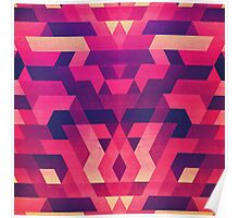 Abstract Symertric geometric triangle texture pattern design in diabolic magnet future red Poster