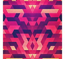 Abstract Symertric geometric triangle texture pattern design in diabolic magnet future red Photographic Print