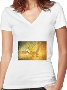 Flying funny Dragon art Women's Fitted V-Neck T-Shirt