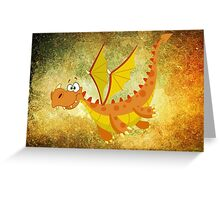 Flying funny Dragon art Greeting Card