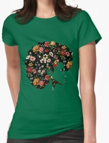 Floral Fro Womens Fitted T-Shirt