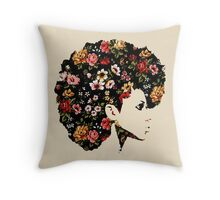Floral Fro Throw Pillow