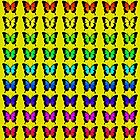 Colorful Butterflies on Yellow by Greenbaby