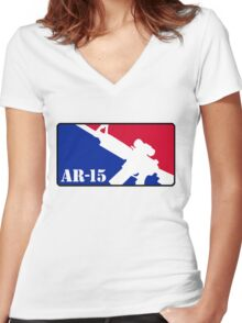 AR15 Red White and Blue Women's Fitted V-Neck T-Shirt