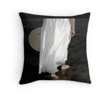 stepping toward the sea Throw Pillow