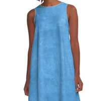 Azure Blue Oil Pastel Color Accent A-Line Dress
