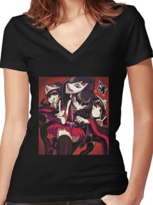 babymetal cartoon japanese metal band art Women's Fitted V-Neck T-Shirt