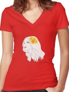 Girl with Rose Women's Fitted V-Neck T-Shirt
