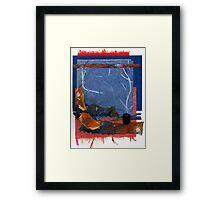 Blue and Orange Collage Framed Print