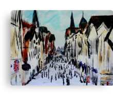 Chester Cityscape Urban Street Contemporary Acrylic Painting On Paper Canvas Print