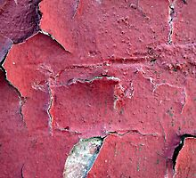 Chipped Red Paint Over a Brick Wall - Cases, Prints and More by BadJokeJoel