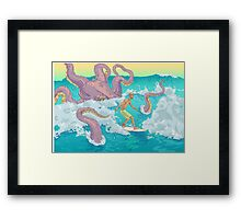 Surfer against kraken print Framed Print